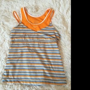 Nike Dri-Fit Orange Blue Striped Sleeveless Top